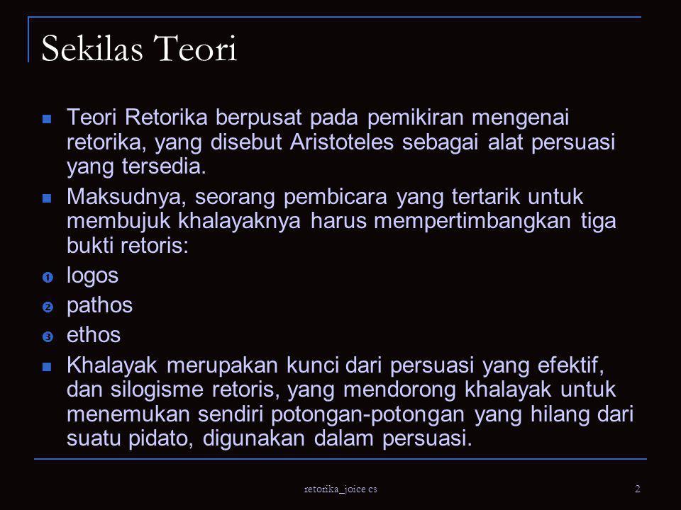 retorika_joice cs 3 Sekilas Teori Aristoteles merupakan orang pertama yang memberikan langkah-langkah dalam public speaking.