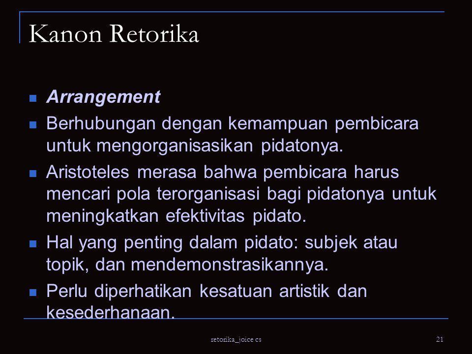 retorika_joice cs 21 Kanon Retorika Arrangement Berhubungan dengan kemampuan pembicara untuk mengorganisasikan pidatonya.