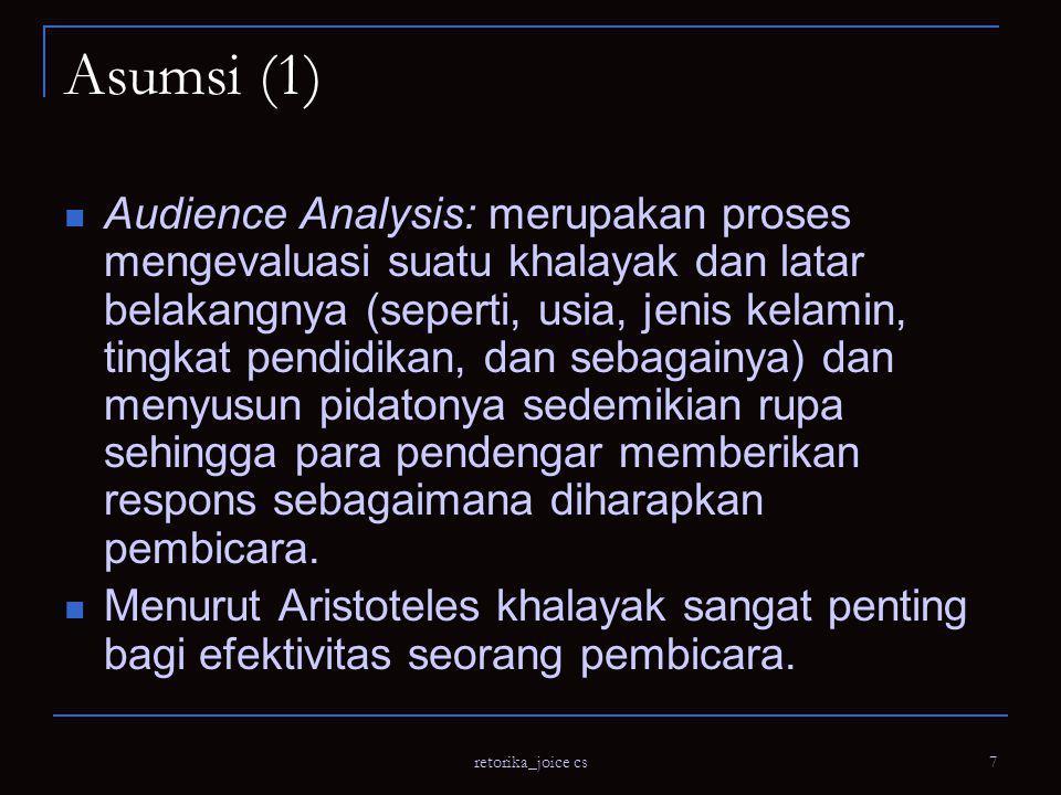 retorika_joice cs 8 Asumsi (2) Pembicara perlu melakukan persiapan dalam pembuatan pidato mereka.