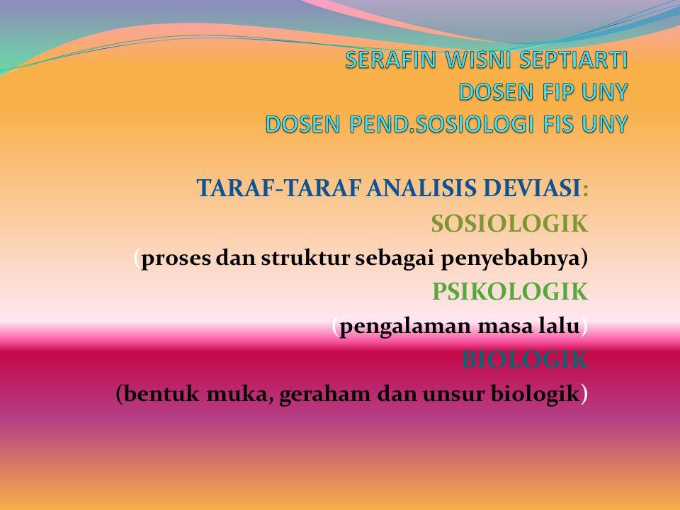 TARAF-TARAF ANALISIS DEVIASI: SOSIOLOGIK (proses dan struktur sebagai penyebabnya) PSIKOLOGIK (pengalaman masa lalu) BIOLOGIK (bentuk muka, geraham dan unsur biologik)