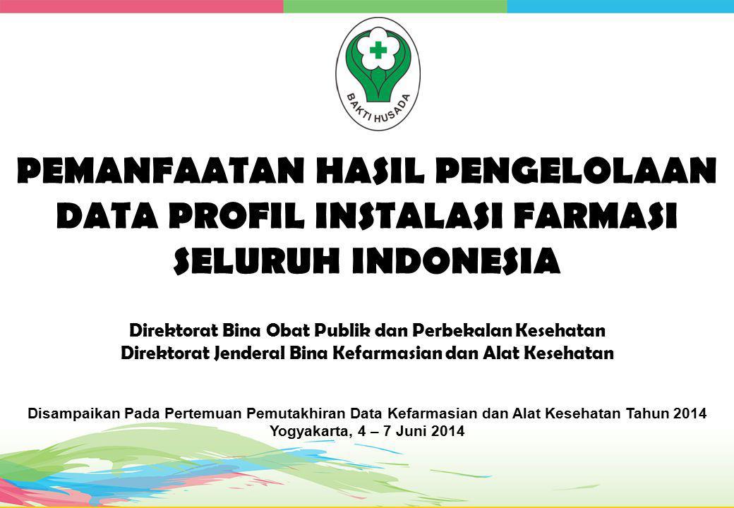 PEMANFAATAN HASIL PENGELOLAAN DATA PROFIL INSTALASI FARMASI SELURUH INDONESIA Direktorat Bina Obat Publik dan Perbekalan Kesehatan Direktorat Jenderal Bina Kefarmasian dan Alat Kesehatan Disampaikan Pada Pertemuan Pemutakhiran Data Kefarmasian dan Alat Kesehatan Tahun 2014 Yogyakarta, 4 – 7 Juni 2014