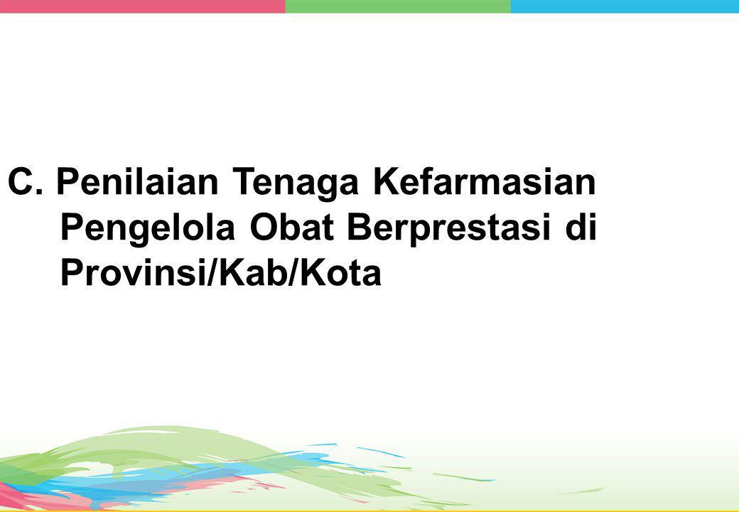 C. Penilaian Tenaga Kefarmasian Pengelola Obat Berprestasi di Provinsi/Kab/Kota