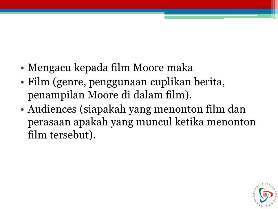 Mengacu kepada film Moore maka Film (genre, penggunaan cuplikan berita, penampilan Moore di dalam film).