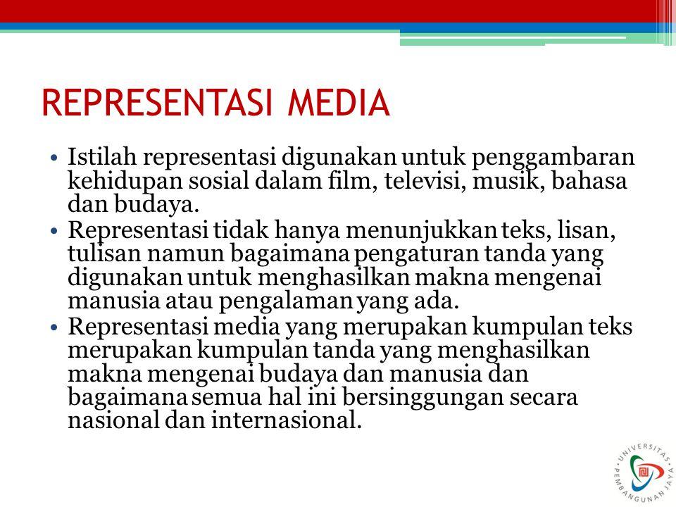 REPRESENTASI MEDIA Istilah representasi digunakan untuk penggambaran kehidupan sosial dalam film, televisi, musik, bahasa dan budaya.