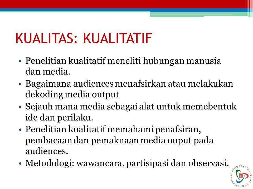 KUALITAS: KUALITATIF Penelitian kualitatif meneliti hubungan manusia dan media.