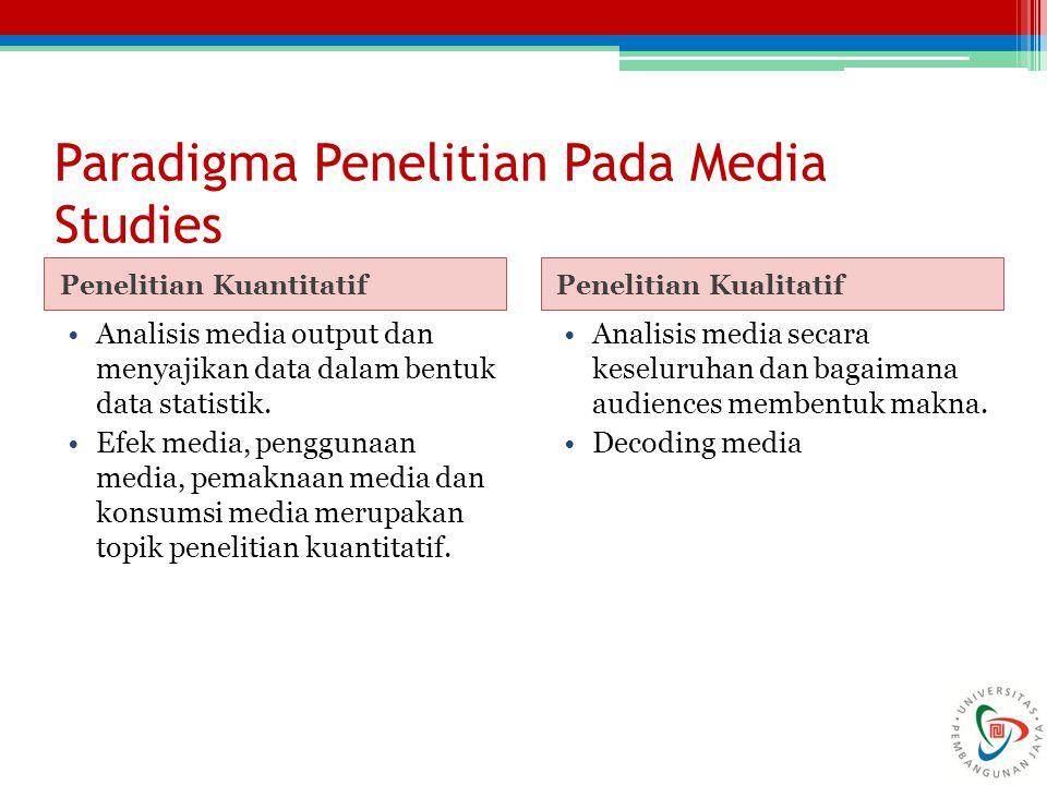 Paradigma Penelitian Pada Media Studies Penelitian KuantitatifPenelitian Kualitatif Analisis media output dan menyajikan data dalam bentuk data statistik.