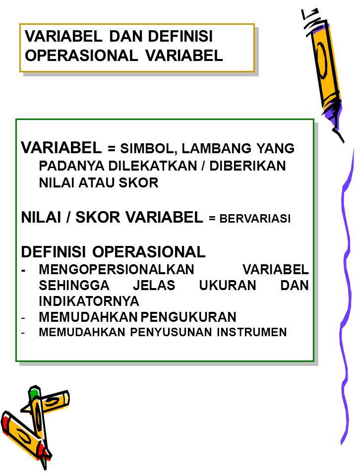VARIABEL DAN DEFINISI OPERASIONAL VARIABEL VARIABEL = SIMBOL, LAMBANG YANG PADANYA DILEKATKAN / DIBERIKAN NILAI ATAU SKOR NILAI / SKOR VARIABEL = BERVARIASI DEFINISI OPERASIONAL -MENGOPERSIONALKAN VARIABEL SEHINGGA JELAS UKURAN DAN INDIKATORNYA -MEMUDAHKAN PENGUKURAN -MEMUDAHKAN PENYUSUNAN INSTRUMEN VARIABEL = SIMBOL, LAMBANG YANG PADANYA DILEKATKAN / DIBERIKAN NILAI ATAU SKOR NILAI / SKOR VARIABEL = BERVARIASI DEFINISI OPERASIONAL -MENGOPERSIONALKAN VARIABEL SEHINGGA JELAS UKURAN DAN INDIKATORNYA -MEMUDAHKAN PENGUKURAN -MEMUDAHKAN PENYUSUNAN INSTRUMEN