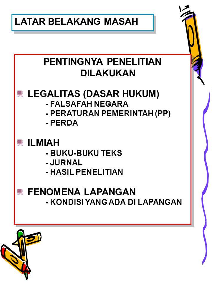 LATAR BELAKANG MASAH PENTINGNYA PENELITIAN DILAKUKAN LEGALITAS (DASAR HUKUM) - FALSAFAH NEGARA - PERATURAN PEMERINTAH (PP) - PERDA ILMIAH - BUKU-BUKU TEKS - JURNAL - HASIL PENELITIAN FENOMENA LAPANGAN - KONDISI YANG ADA DI LAPANGAN PENTINGNYA PENELITIAN DILAKUKAN LEGALITAS (DASAR HUKUM) - FALSAFAH NEGARA - PERATURAN PEMERINTAH (PP) - PERDA ILMIAH - BUKU-BUKU TEKS - JURNAL - HASIL PENELITIAN FENOMENA LAPANGAN - KONDISI YANG ADA DI LAPANGAN