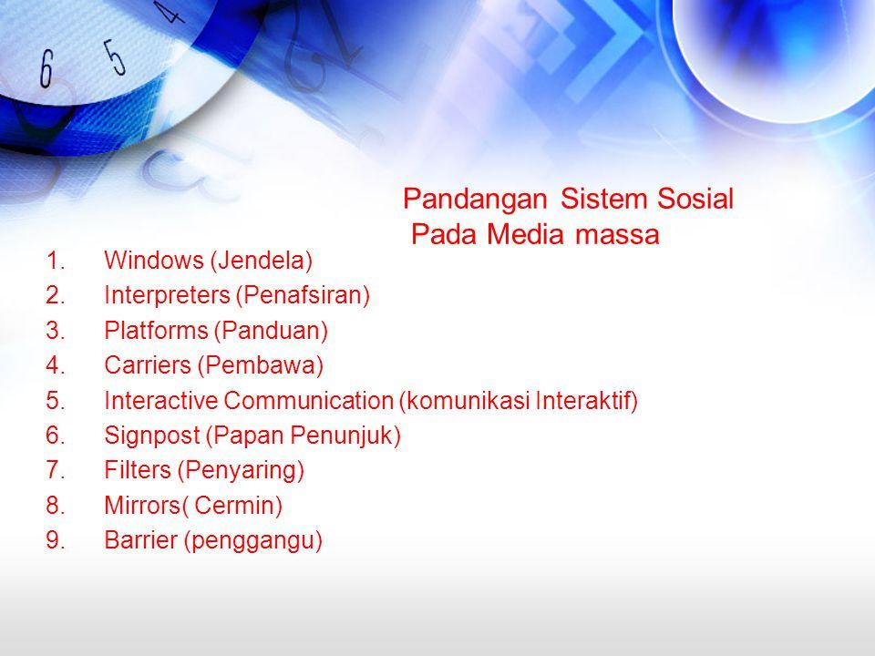 Pandangan Sistem Sosial Pada Media massa 1.Windows (Jendela) 2.Interpreters (Penafsiran) 3.Platforms (Panduan) 4.Carriers (Pembawa) 5.Interactive Communication (komunikasi Interaktif) 6.Signpost (Papan Penunjuk) 7.Filters (Penyaring) 8.Mirrors( Cermin) 9.Barrier (penggangu)