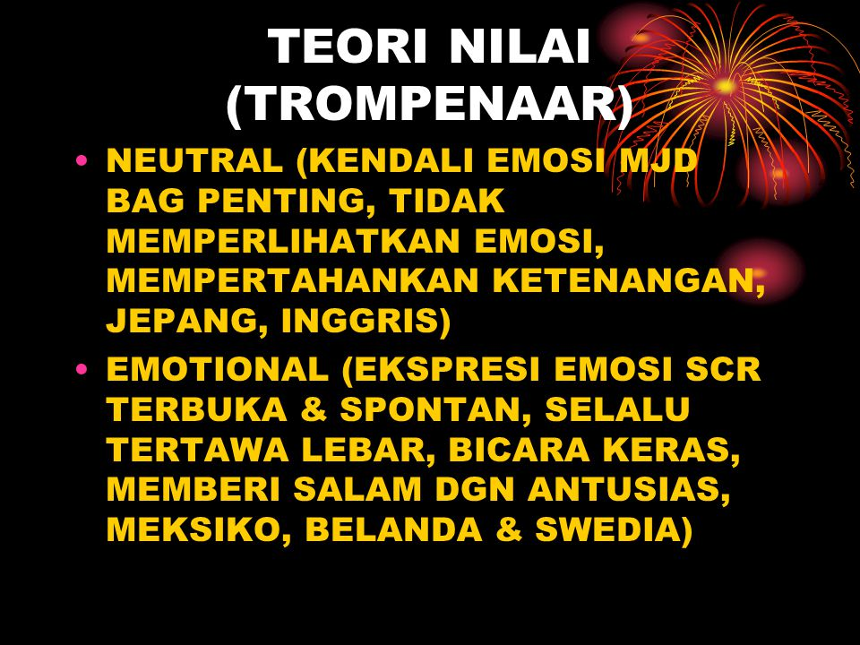 TEORI NILAI (TROMPENAAR) NEUTRAL (KENDALI EMOSI MJD BAG PENTING, TIDAK MEMPERLIHATKAN EMOSI, MEMPERTAHANKAN KETENANGAN, JEPANG, INGGRIS) EMOTIONAL (EK