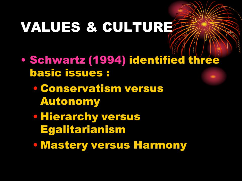 VALUES & CULTURE Schwartz (1994) identified three basic issues : Conservatism versus Autonomy Hierarchy versus Egalitarianism Mastery versus Harmony