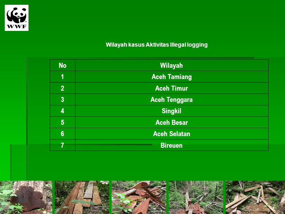 Wilayah kasus Aktivitas Illegal logging NoWilayah 1Aceh Tamiang 2Aceh Timur 3Aceh Tenggara 4Singkil 5Aceh Besar 6Aceh Selatan 7Bireuen