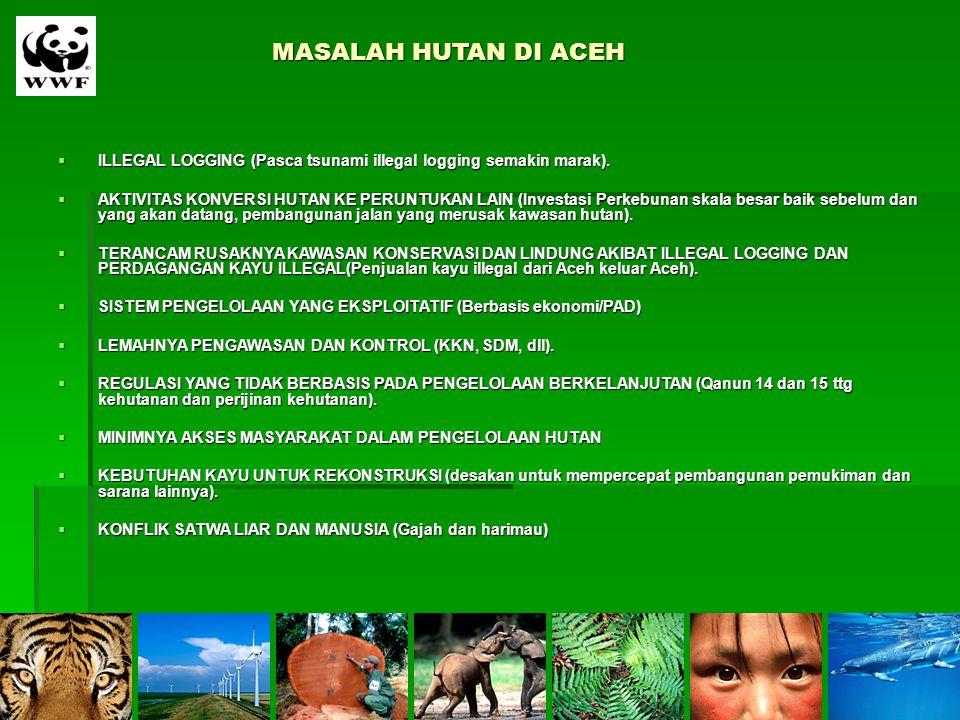 MASALAH HUTAN DI ACEH  ILLEGAL LOGGING (Pasca tsunami illegal logging semakin marak).  AKTIVITAS KONVERSI HUTAN KE PERUNTUKAN LAIN (Investasi Perkeb