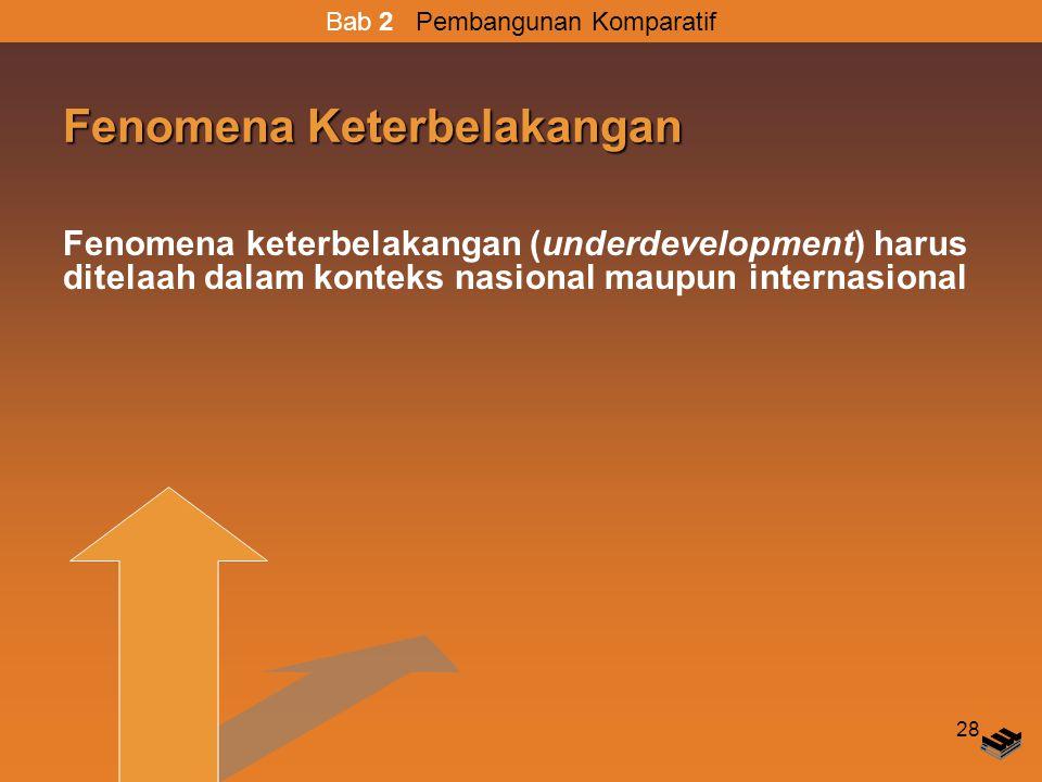 28 Fenomena Keterbelakangan Fenomena keterbelakangan (underdevelopment) harus ditelaah dalam konteks nasional maupun internasional Bab 2 Pembangunan Komparatif