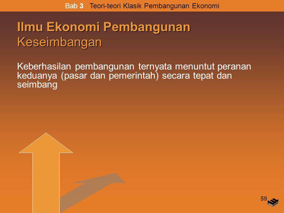 59 Ilmu Ekonomi Pembangunan Keseimbangan Keberhasilan pembangunan ternyata menuntut peranan keduanya (pasar dan pemerintah) secara tepat dan seimbang Bab 3 Teori-teori Klasik Pembangunan Ekonomi