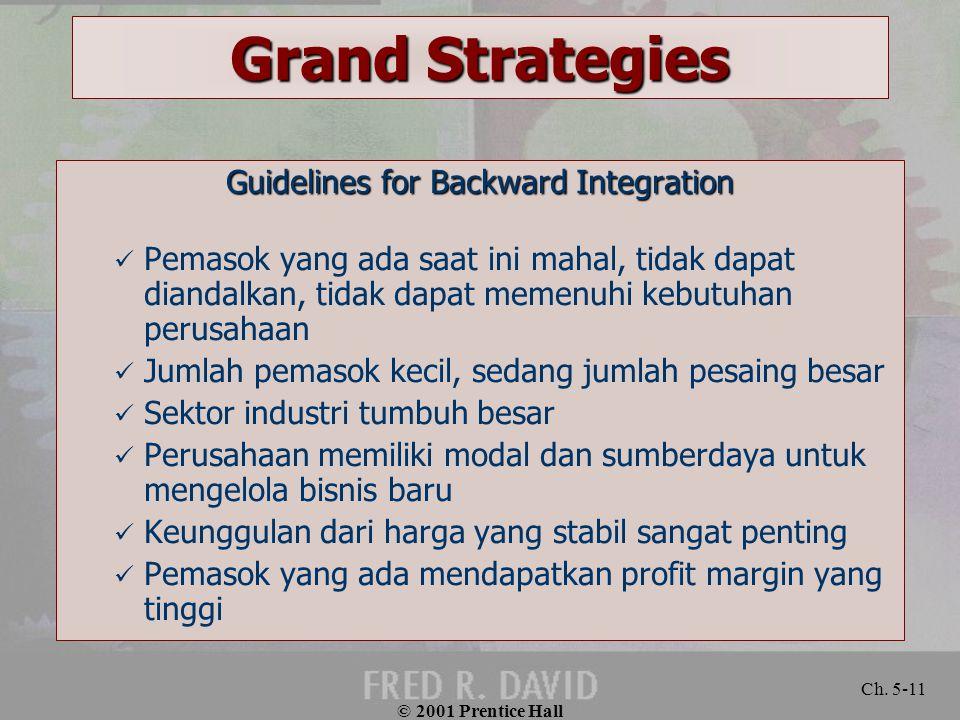 © 2001 Prentice Hall Ch. 5-11 Grand Strategies Guidelines for Backward Integration Pemasok yang ada saat ini mahal, tidak dapat diandalkan, tidak dapa