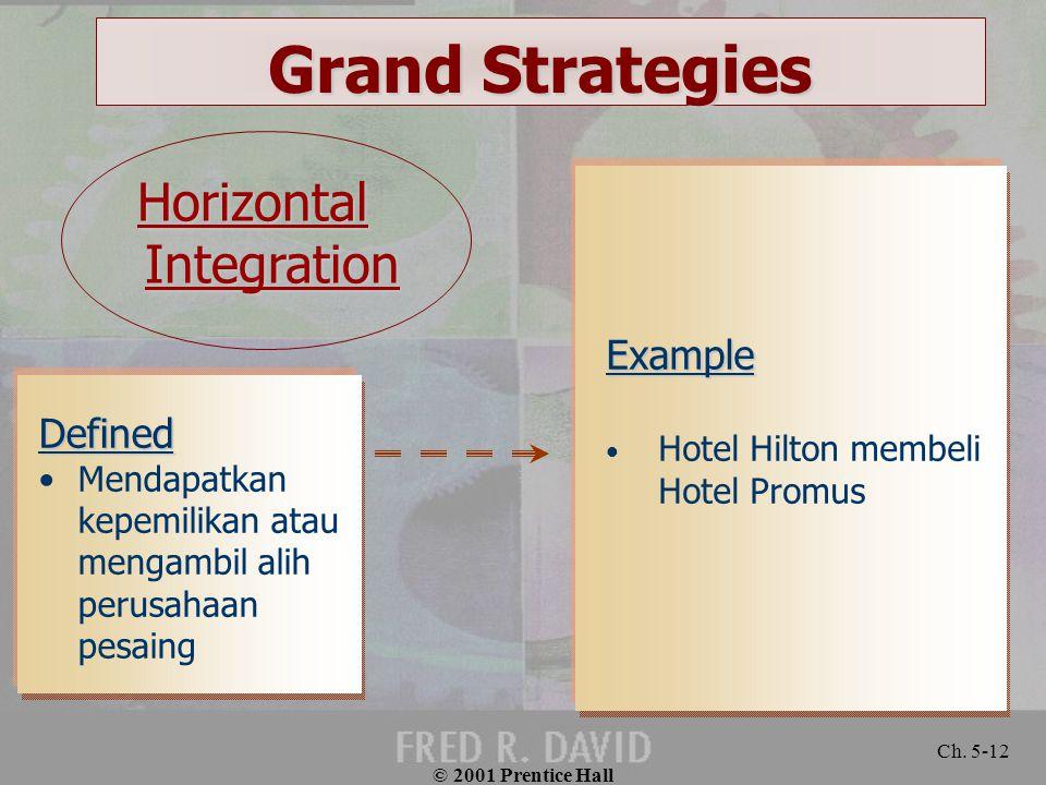 © 2001 Prentice Hall Ch. 5-12 Grand Strategies Defined Mendapatkan kepemilikan atau mengambil alih perusahaan pesaing Example Hotel Hilton membeli Hot