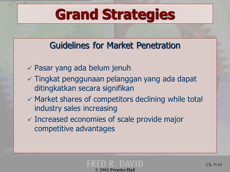 © 2001 Prentice Hall Ch. 5-16 Grand Strategies Guidelines for Market Penetration Pasar yang ada belum jenuh Tingkat penggunaan pelanggan yang ada dapa