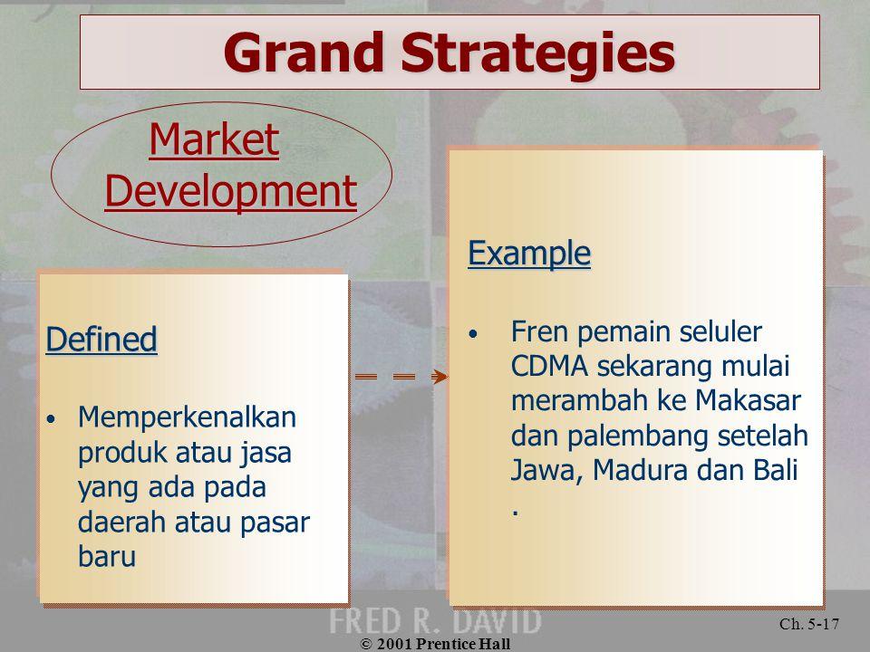 © 2001 Prentice Hall Ch. 5-17 Grand Strategies Defined Memperkenalkan produk atau jasa yang ada pada daerah atau pasar baru Example Fren pemain selule