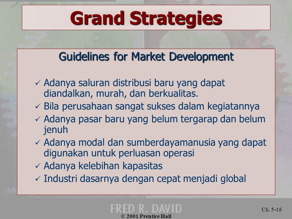 © 2001 Prentice Hall Ch. 5-18 Grand Strategies Guidelines for Market Development Adanya saluran distribusi baru yang dapat diandalkan, murah, dan berk