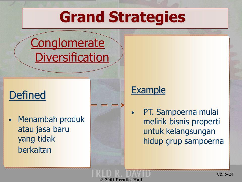 © 2001 Prentice Hall Ch. 5-24 Grand Strategies Defined Menambah produk atau jasa baru yang tidak berkaitan Example PT. Sampoerna mulai melirik bisnis