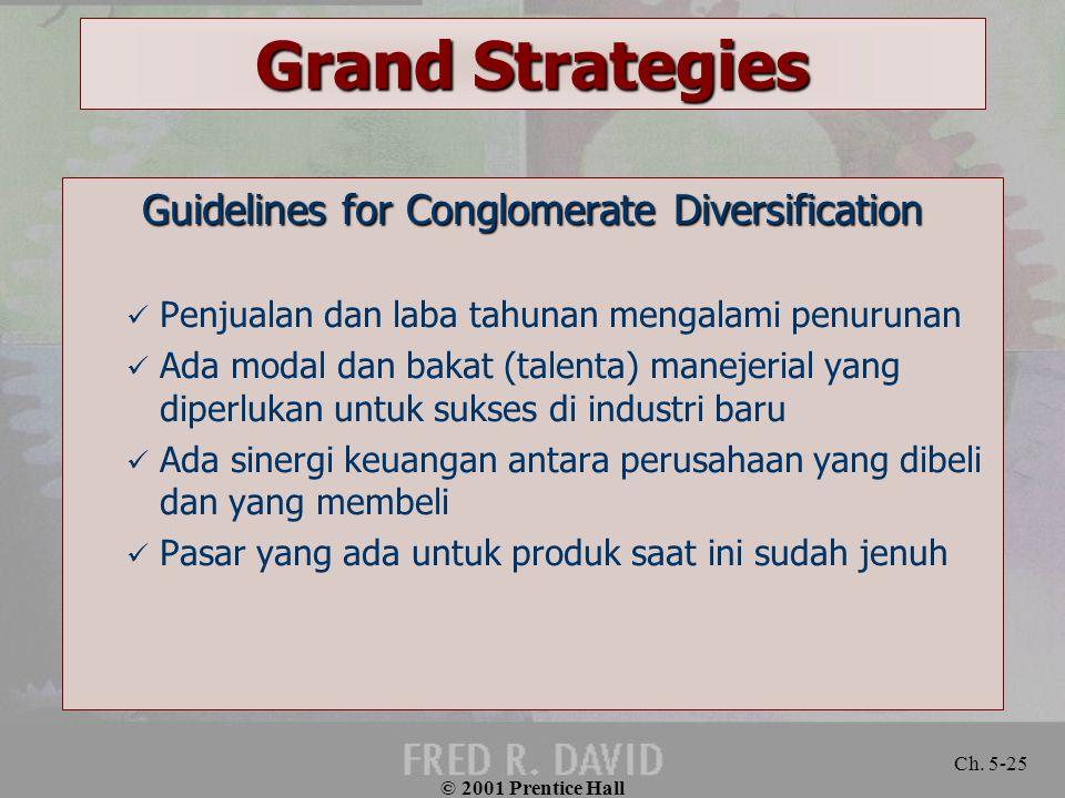 © 2001 Prentice Hall Ch. 5-25 Grand Strategies Guidelines for Conglomerate Diversification Penjualan dan laba tahunan mengalami penurunan Ada modal da