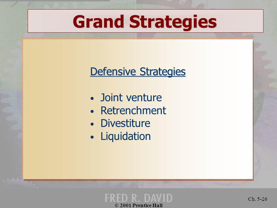 © 2001 Prentice Hall Ch. 5-26 Grand Strategies Defensive Strategies Joint venture Retrenchment Divestiture Liquidation