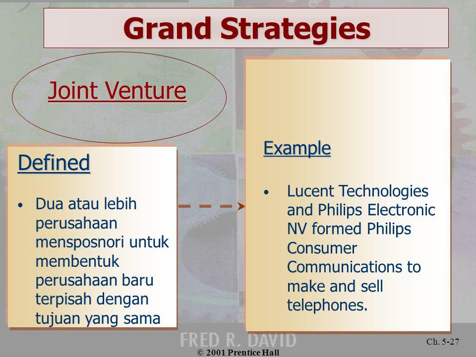 © 2001 Prentice Hall Ch. 5-27 Defined Dua atau lebih perusahaan mensposnori untuk membentuk perusahaan baru terpisah dengan tujuan yang sama Example L
