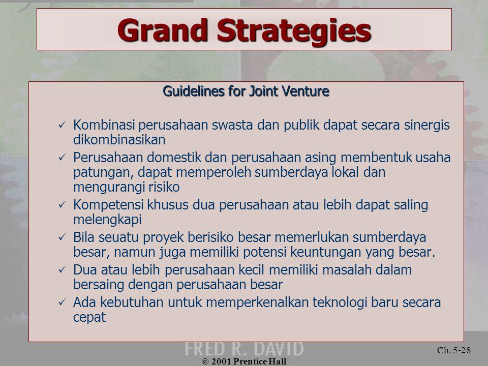 © 2001 Prentice Hall Ch. 5-28 Grand Strategies Guidelines for Joint Venture Kombinasi perusahaan swasta dan publik dapat secara sinergis dikombinasika