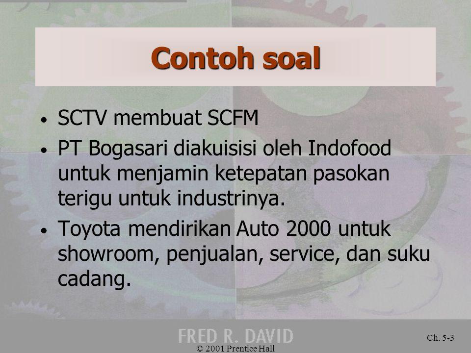 Contoh soal SCTV membuat SCFM PT Bogasari diakuisisi oleh Indofood untuk menjamin ketepatan pasokan terigu untuk industrinya. Toyota mendirikan Auto 2
