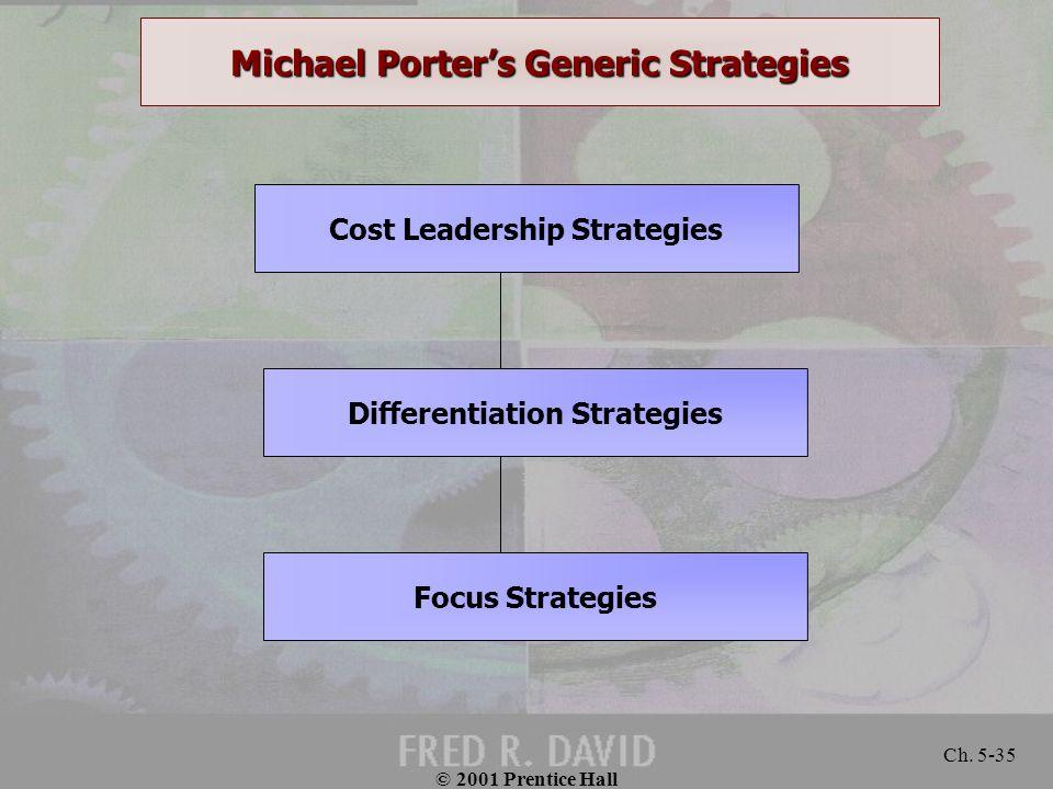 © 2001 Prentice Hall Ch. 5-35 Michael Porter's Generic Strategies Cost Leadership Strategies Differentiation Strategies Focus Strategies