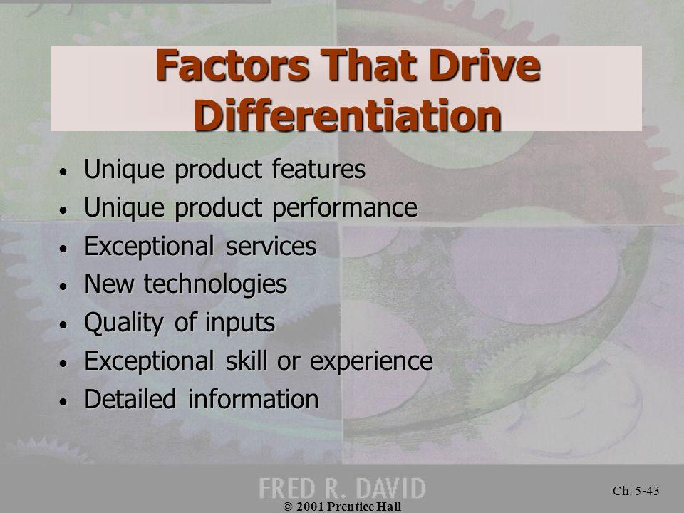 © 2001 Prentice Hall Ch. 5-43 Factors That Drive Differentiation Unique product features Unique product features Unique product performance Unique pro