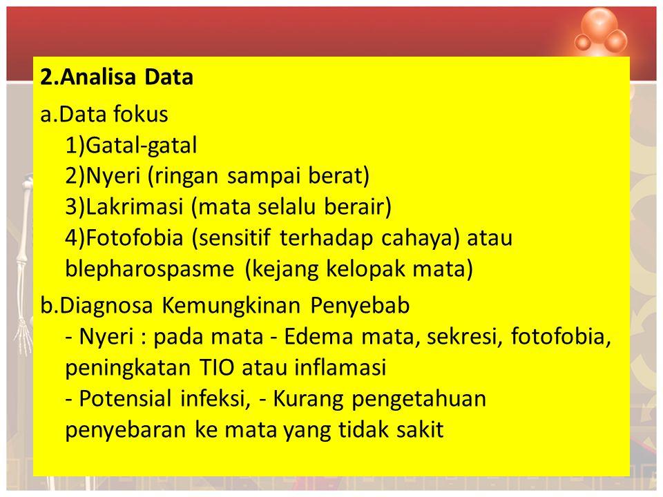 2.Analisa Data a.Data fokus 1)Gatal-gatal 2)Nyeri (ringan sampai berat) 3)Lakrimasi (mata selalu berair) 4)Fotofobia (sensitif terhadap cahaya) atau b