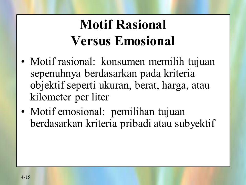 4-15 Motif Rasional Versus Emosional Motif rasional: konsumen memilih tujuan sepenuhnya berdasarkan pada kriteria objektif seperti ukuran, berat, harg