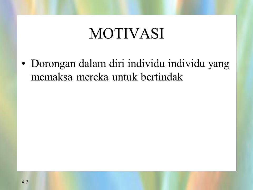 4-2 MOTIVASI Dorongan dalam diri individu individu yang memaksa mereka untuk bertindak