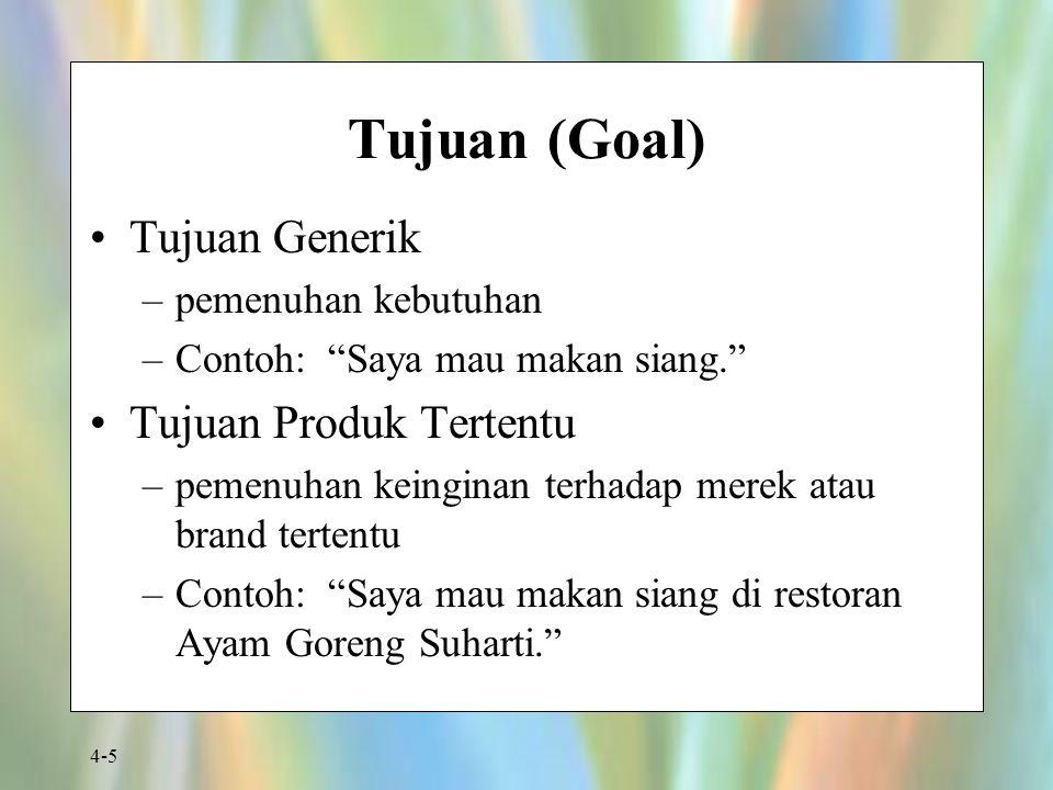 """4-5 Tujuan (Goal) Tujuan Generik –pemenuhan kebutuhan –Contoh: """"Saya mau makan siang."""" Tujuan Produk Tertentu –pemenuhan keinginan terhadap merek atau"""