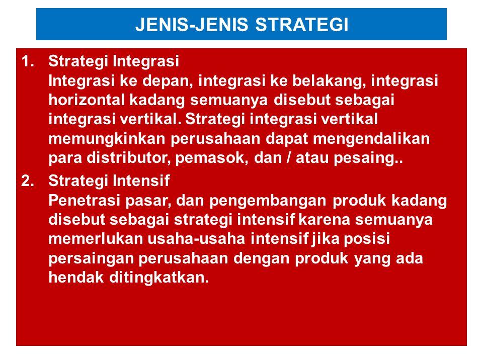 JENIS-JENIS STRATEGI 1.Strategi Integrasi Integrasi ke depan, integrasi ke belakang, integrasi horizontal kadang semuanya disebut sebagai integrasi vertikal.