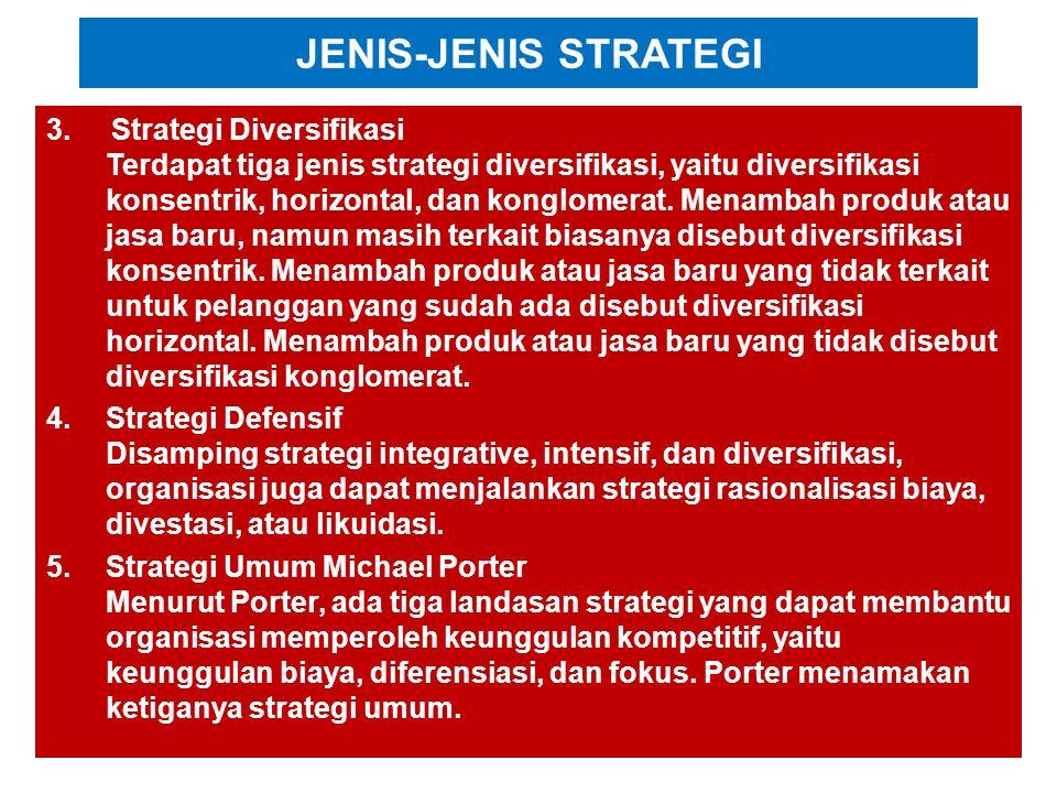 JENIS-JENIS STRATEGI 1.Strategi Integrasi Integrasi ke depan, integrasi ke belakang, integrasi horizontal kadang semuanya disebut sebagai integrasi ve