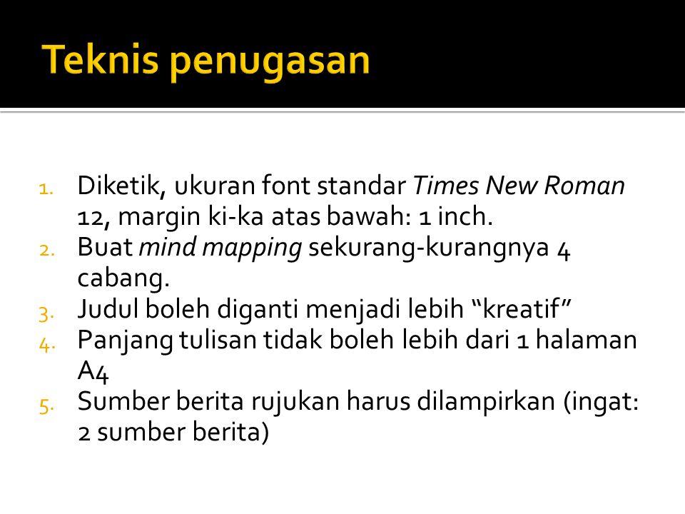 1. Diketik, ukuran font standar Times New Roman 12, margin ki-ka atas bawah: 1 inch.
