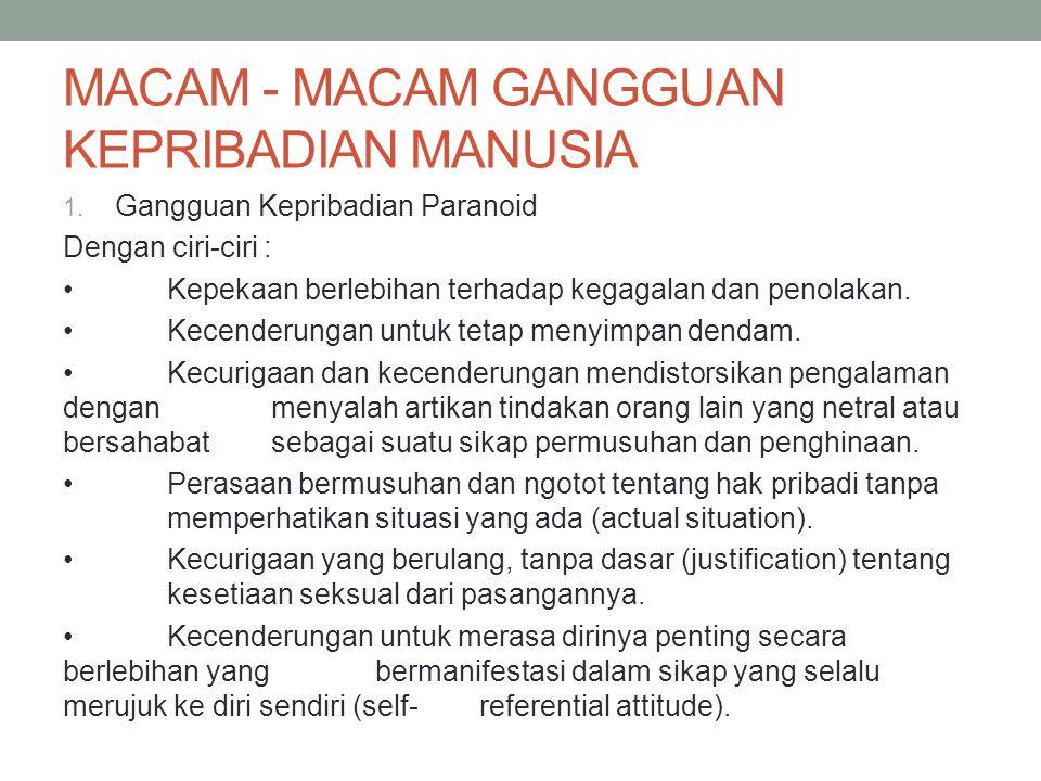 MACAM - MACAM GANGGUAN KEPRIBADIAN MANUSIA 1.