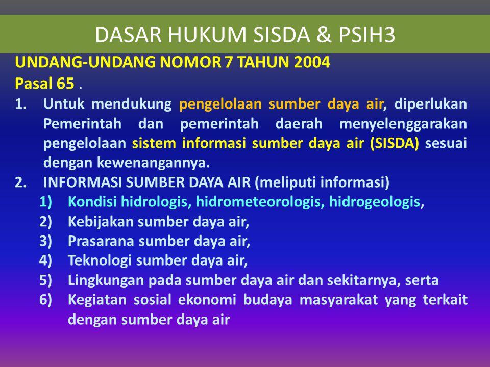 DASAR HUKUM SISDA & PSIH3 UNDANG-UNDANG NOMOR 7 TAHUN 2004 Pasal 65.