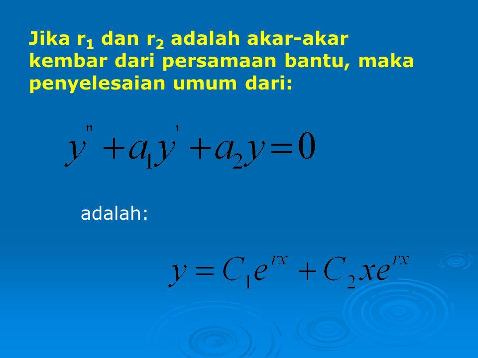 Contoh: 1.Tentukanlah penyelesaian umum dari persamaan: Penyelesaian: