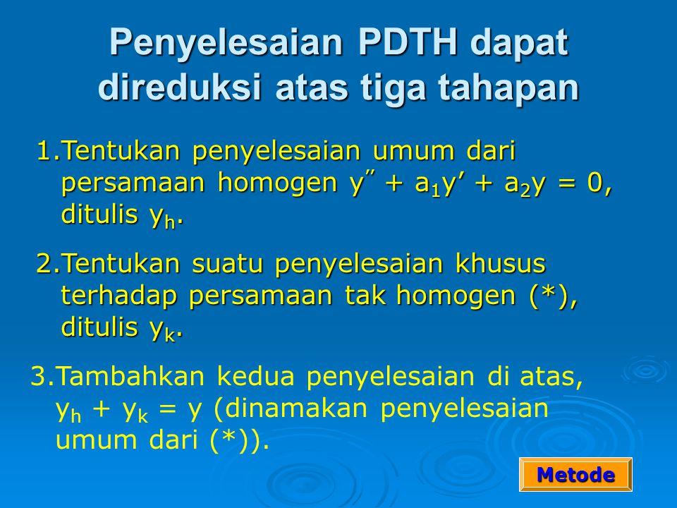 Pers Dif Tidak Homogen Bentuk umum PD orde 2: PDTH Orde 2 dengan koefisien konstan: Penyelesaian? ……(*)