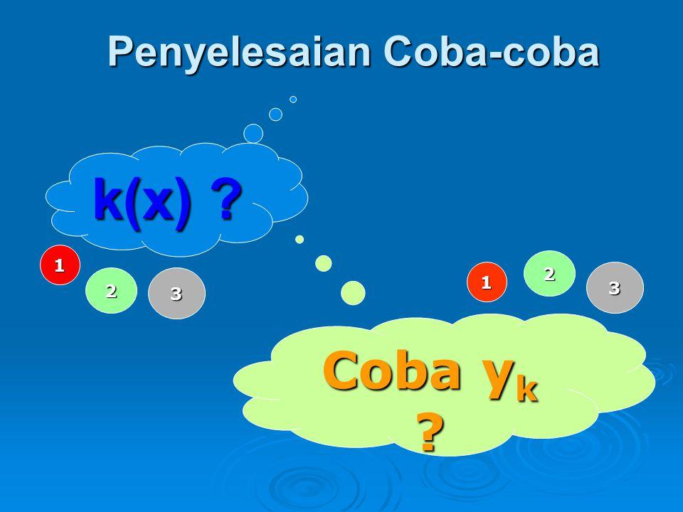 Metode Koefisien Tak Tentu Perhatikan persamaan: Dalam hal ini fungsi k(x) yang paling mungkin adalah berupa polinom, eksponen, sinus dan kosinus.
