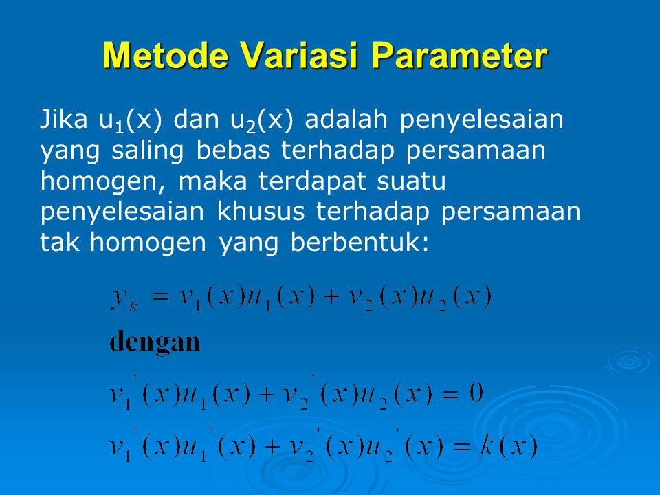 Catatan: Jika salah satu fungsi dari k(x) adalah suatu penyelesaian terhadap penyelesaian homogen, maka kalikan penyelesaian coba-coba dengan x (atau