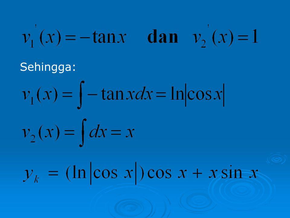 Untuk menentukan penyelesaian khusus, maka tulis y k sebagai berikut: …(*) Dengan menyelesaikan sistem (*), maka diperoleh: