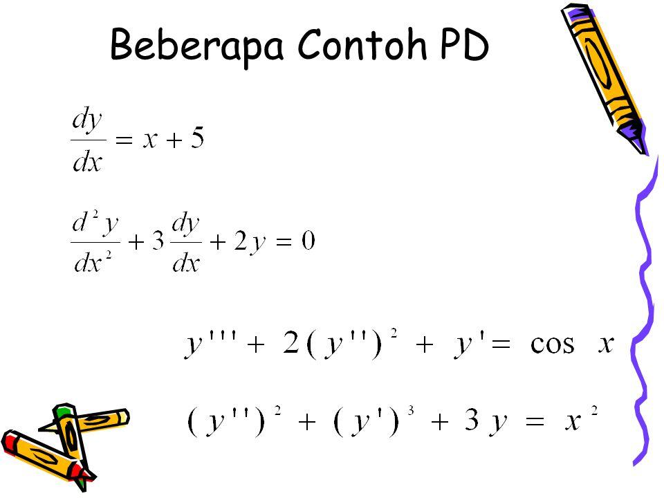 ORDE DAN DEGREE PD 1. Orde (tingkat) PD adalah tingkat tertinggi turunan yang muncul pada PD tersebut. 2. Degree (derajat) PD yang dapat ditulis sebag