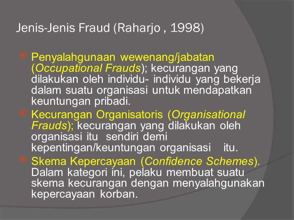 Jenis-Jenis Fraud (Raharjo, 1998)  Penyalahgunaan wewenang/jabatan (Occupational Frauds); kecurangan yang dilakukan oleh individu- individu yang beke