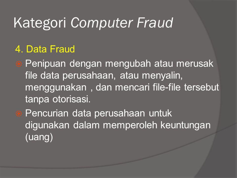Kategori Computer Fraud 4. Data Fraud  Penipuan dengan mengubah atau merusak file data perusahaan, atau menyalin, menggunakan, dan mencari file-file