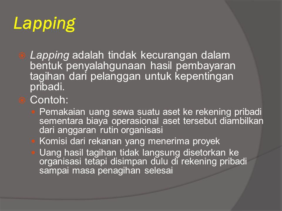 Lapping  Lapping adalah tindak kecurangan dalam bentuk penyalahgunaan hasil pembayaran tagihan dari pelanggan untuk kepentingan pribadi.  Contoh: Pe